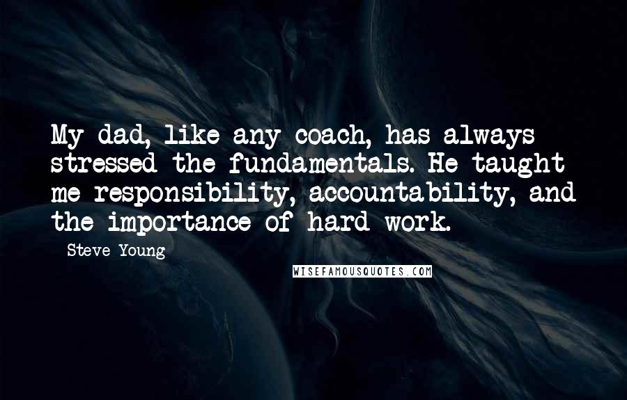 Steve Young quotes: My dad, like any coach, has always stressed the fundamentals. He taught me responsibility, accountability, and the importance of hard work.
