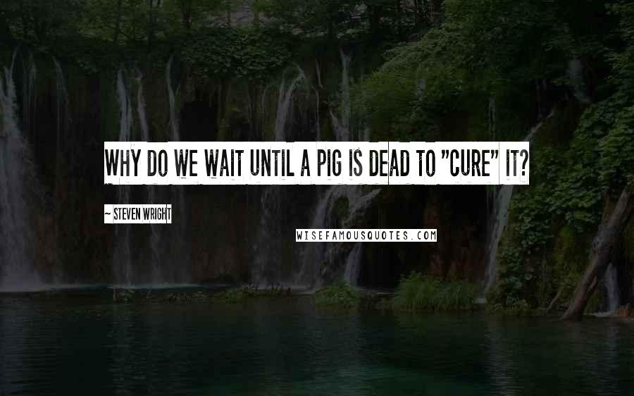 "Steven Wright quotes: Why do we wait until a pig is dead to ""cure"" it?"