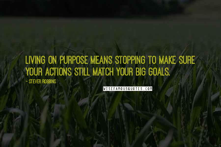 Stever Robbins quotes: Living on purpose means stopping to make sure your actions still match your big goals.