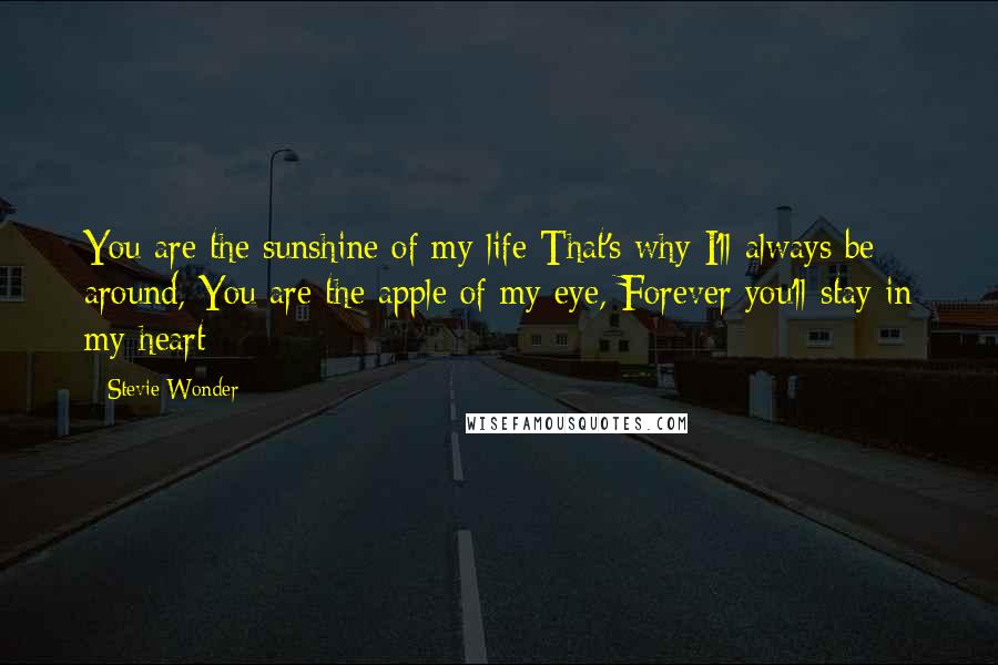 Stevie Wonder quotes: You are the sunshine of my life That's why I'll always be around, You are the apple of my eye, Forever you'll stay in my heart