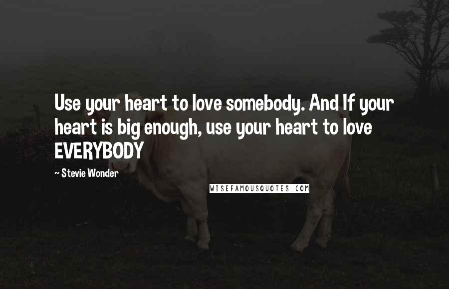 Stevie Wonder quotes: Use your heart to love somebody. And If your heart is big enough, use your heart to love EVERYBODY
