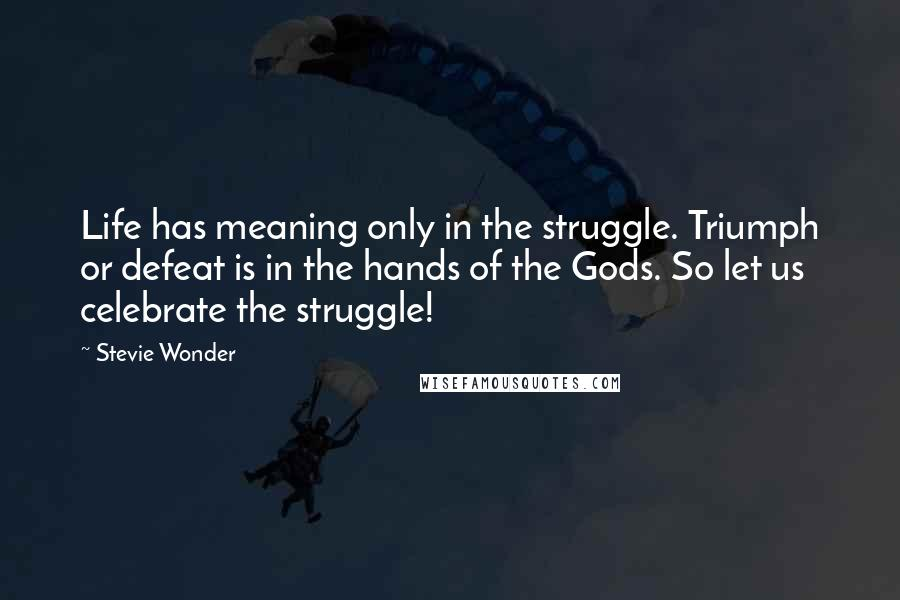 Stevie Wonder quotes: Life has meaning only in the struggle. Triumph or defeat is in the hands of the Gods. So let us celebrate the struggle!