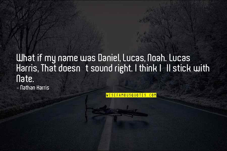 Stick By You Quotes By Nathan Harris: What if my name was Daniel, Lucas, Noah.