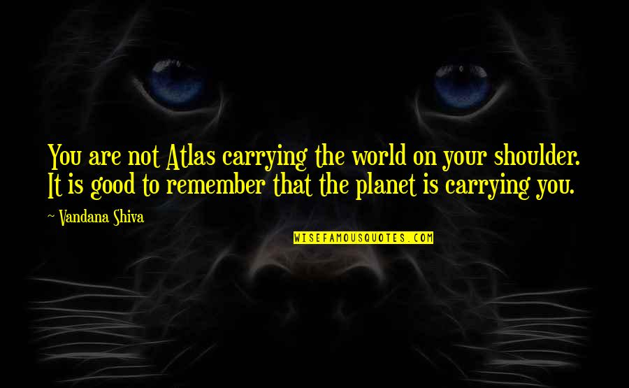 Stider Quotes By Vandana Shiva: You are not Atlas carrying the world on