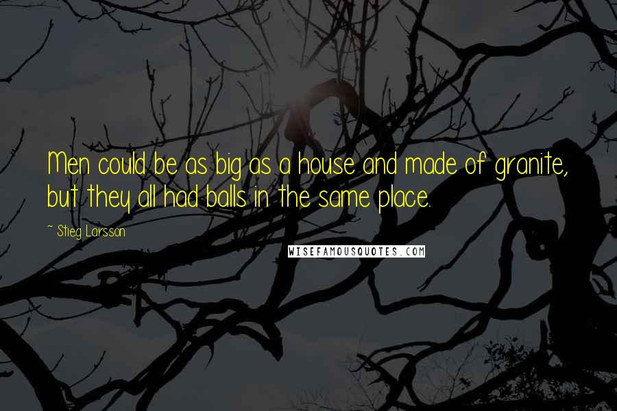 Stieg Larsson quotes: Men could be as big as a house and made of granite, but they all had balls in the same place.