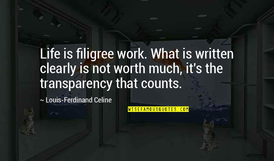 Still Loving Your Ex Tumblr Quotes By Louis-Ferdinand Celine: Life is filigree work. What is written clearly