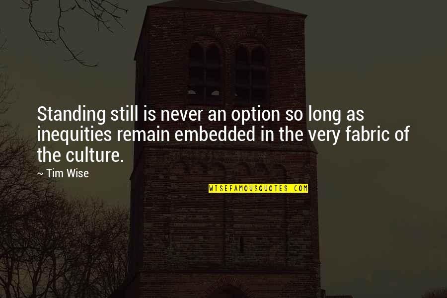 Still Standing Quotes By Tim Wise: Standing still is never an option so long