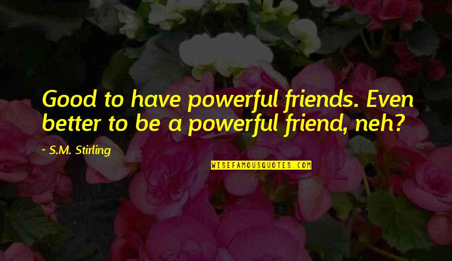 Stirling Quotes By S.M. Stirling: Good to have powerful friends. Even better to