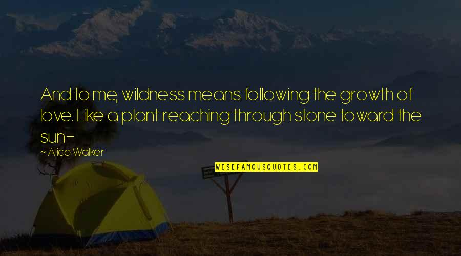 Stone And Love Quotes By Alice Walker: And to me, wildness means following the growth