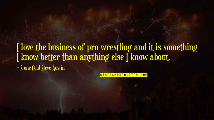 Stone And Love Quotes By Stone Cold Steve Austin: I love the business of pro wrestling and
