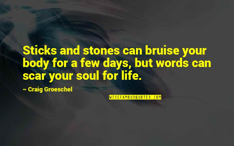 Stones Quotes By Craig Groeschel: Sticks and stones can bruise your body for