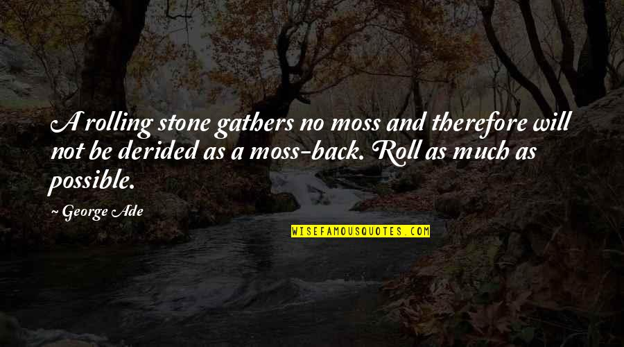 Stones Quotes By George Ade: A rolling stone gathers no moss and therefore