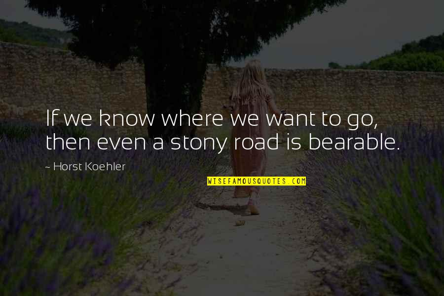 Stony Quotes By Horst Koehler: If we know where we want to go,