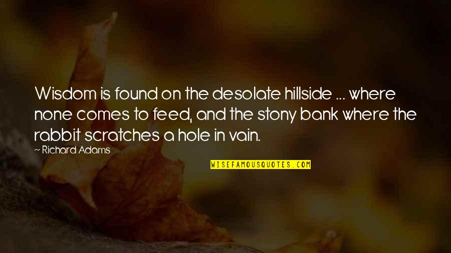 Stony Quotes By Richard Adams: Wisdom is found on the desolate hillside ...