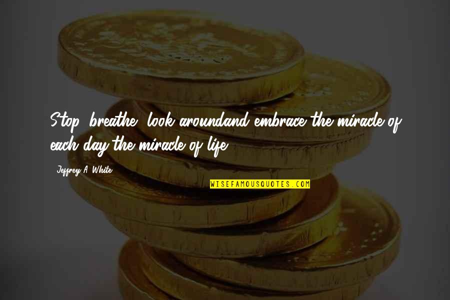 Stop And Look Around Quotes By Jeffrey A. White: Stop, breathe, look aroundand embrace the miracle of