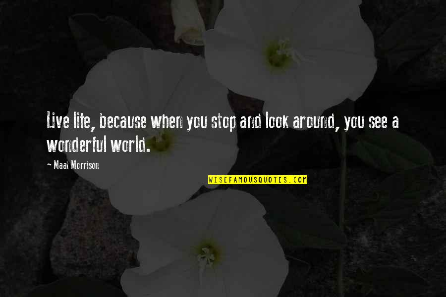 Stop And Look Around Quotes By Maat Morrison: Live life, because when you stop and look
