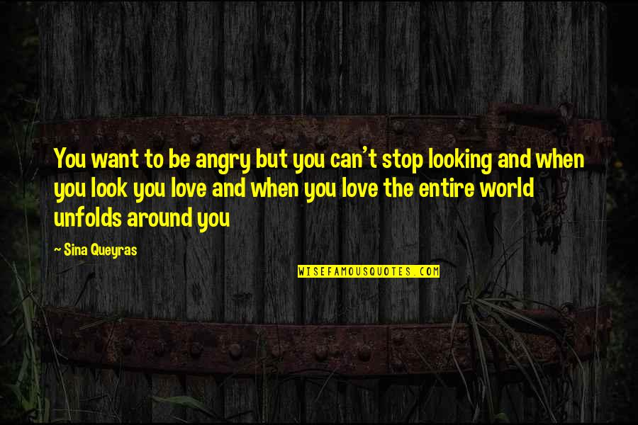 Stop And Look Around Quotes By Sina Queyras: You want to be angry but you can't