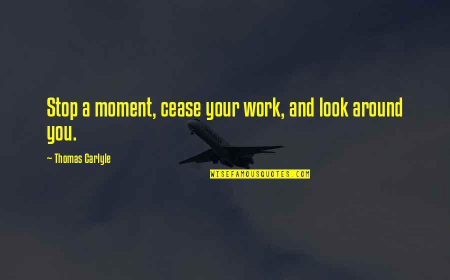 Stop And Look Around Quotes By Thomas Carlyle: Stop a moment, cease your work, and look