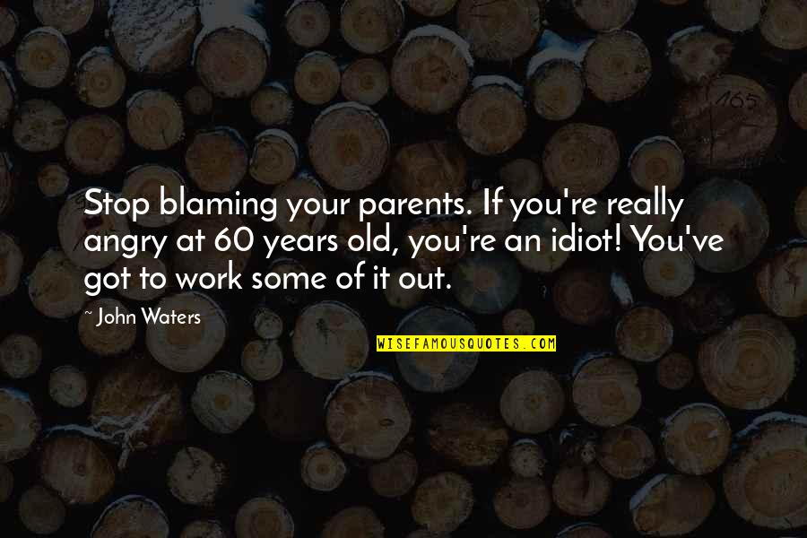 Stop Blaming Your Parents Quotes By John Waters: Stop blaming your parents. If you're really angry