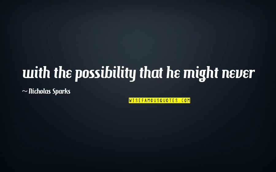 Stop Falling In Love Quotes By Nicholas Sparks: with the possibility that he might never