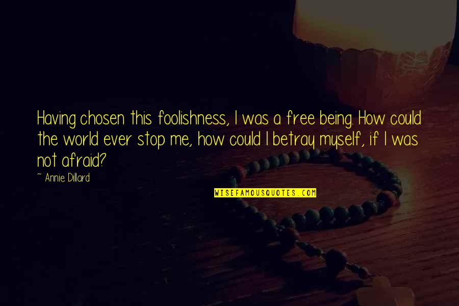Stop Foolishness Quotes By Annie Dillard: Having chosen this foolishness, I was a free