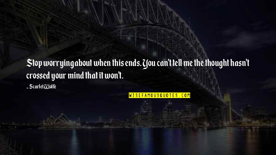 Stop Worrying About Love Quotes By Scarlet Wolfe: Stop worrying about when this ends. You can't
