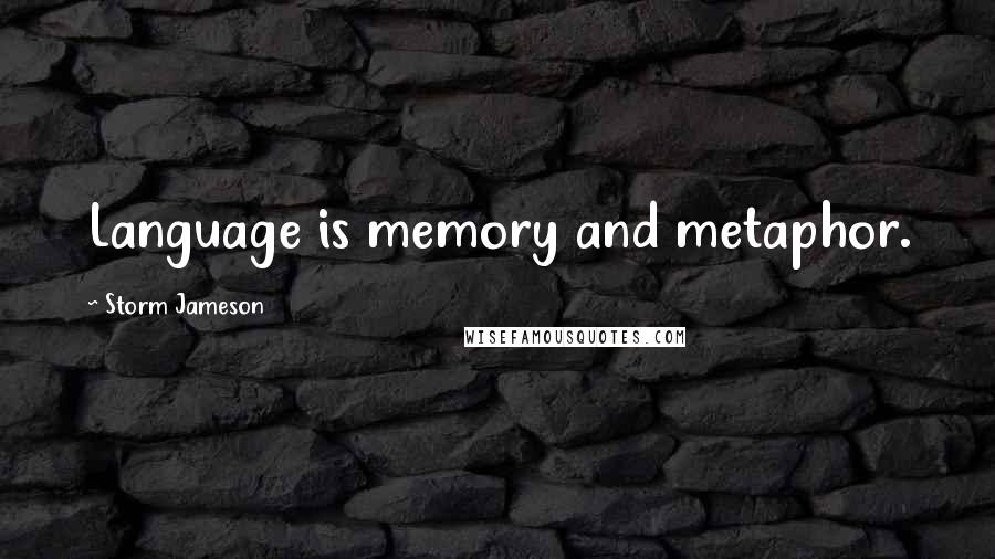 Storm Jameson quotes: Language is memory and metaphor.