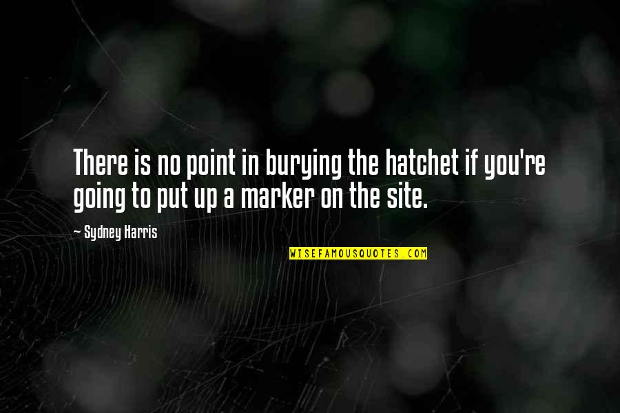 Storms And Rain Quotes By Sydney Harris: There is no point in burying the hatchet