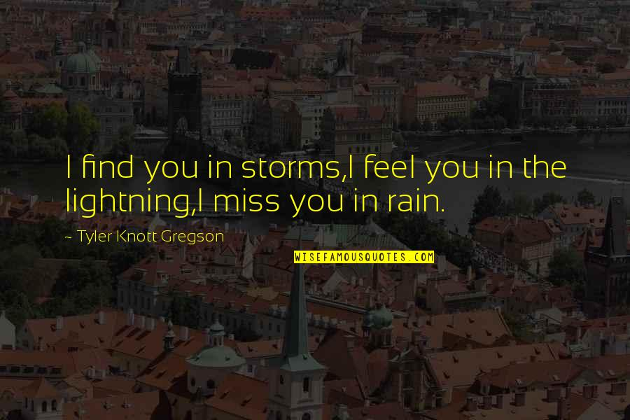 Storms And Rain Quotes By Tyler Knott Gregson: I find you in storms,I feel you in