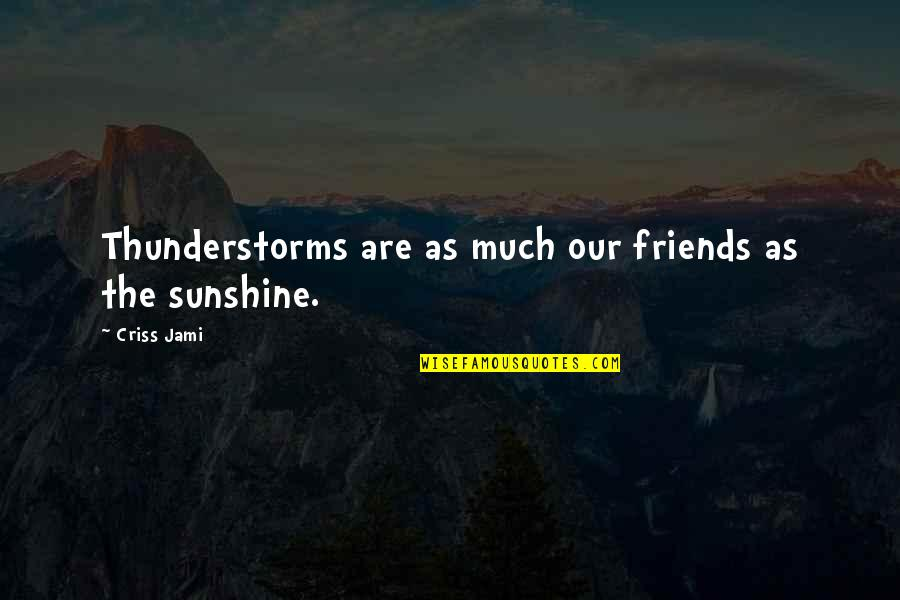 Storms In Your Life Quotes By Criss Jami: Thunderstorms are as much our friends as the