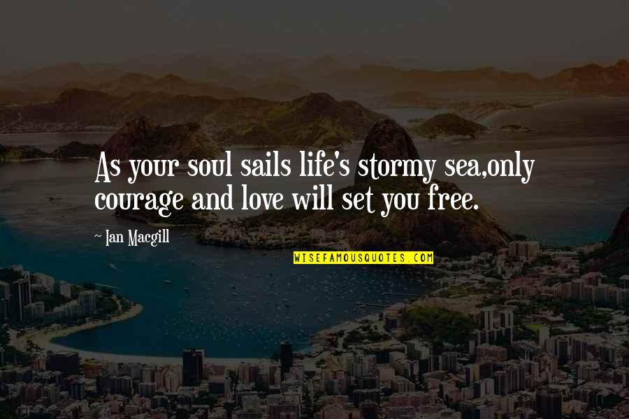 Stormy's Quotes By Ian Macgill: As your soul sails life's stormy sea,only courage