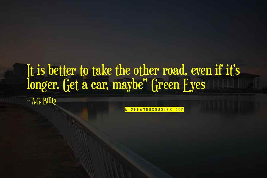 Story In Eyes Quotes By A.G. Billig: It is better to take the other road,
