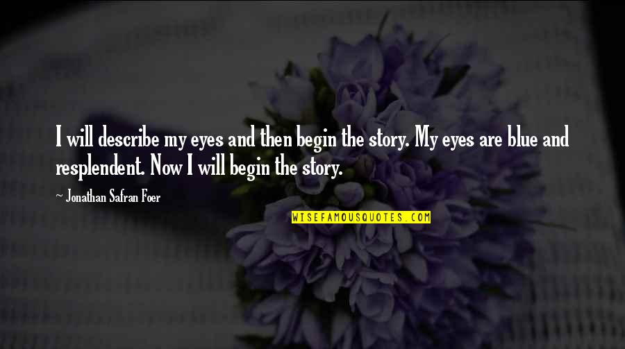 Story In Eyes Quotes By Jonathan Safran Foer: I will describe my eyes and then begin
