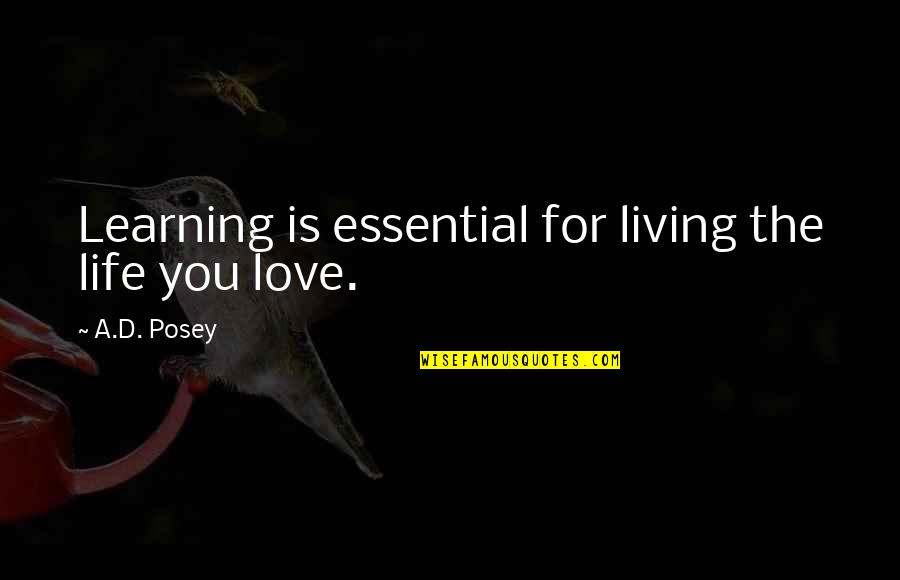Story Love Quotes By A.D. Posey: Learning is essential for living the life you