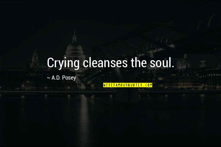 Story Love Quotes By A.D. Posey: Crying cleanses the soul.