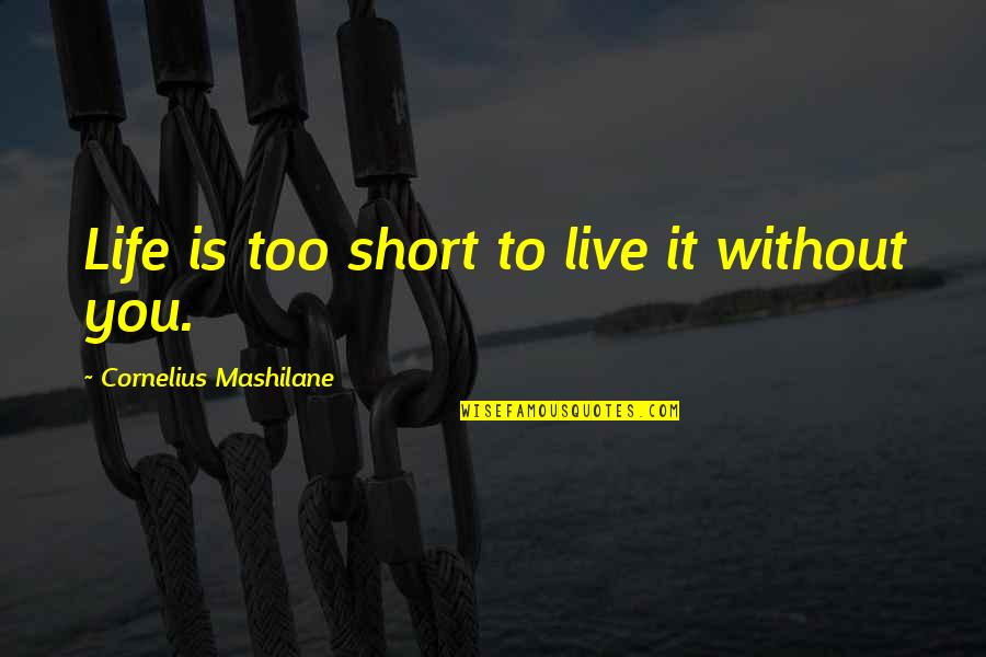 Strategy And Tactic Quotes By Cornelius Mashilane: Life is too short to live it without