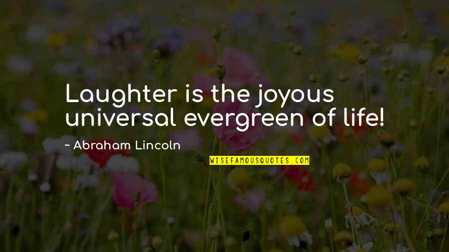 Stratton Finance Quotes By Abraham Lincoln: Laughter is the joyous universal evergreen of life!