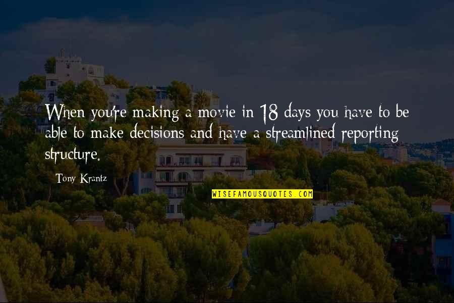 Streamlined Quotes By Tony Krantz: When you're making a movie in 18 days