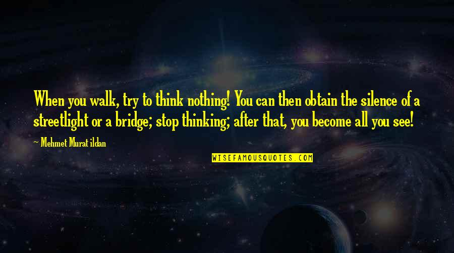 Streetlight's Quotes By Mehmet Murat Ildan: When you walk, try to think nothing! You