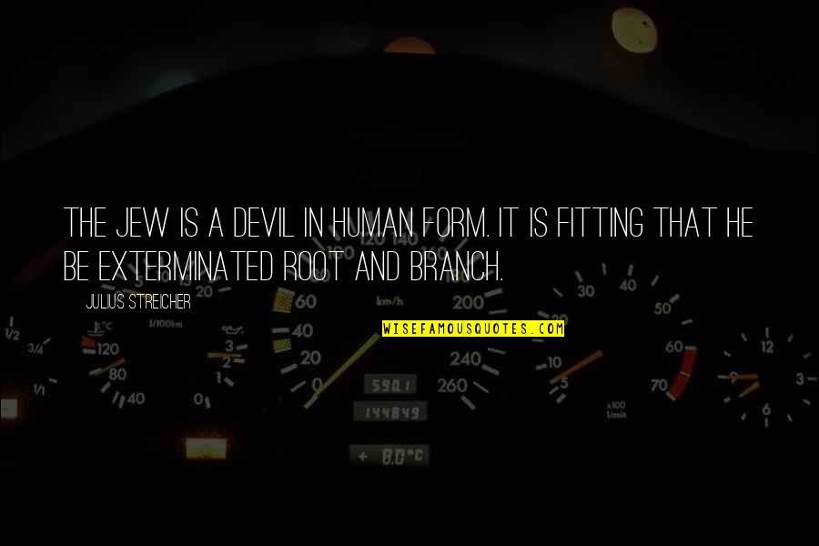 Streicher Quotes By Julius Streicher: The Jew is a devil in human form.