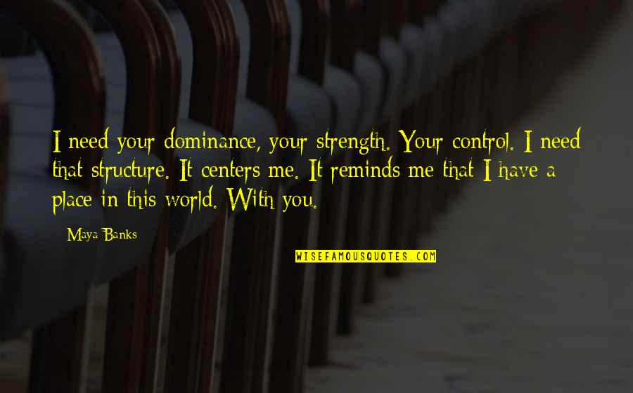 Strength In Me Quotes By Maya Banks: I need your dominance, your strength. Your control.
