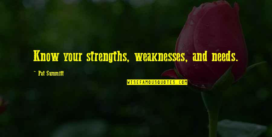 Strengths And Weaknesses Quotes By Pat Summitt: Know your strengths, weaknesses, and needs.