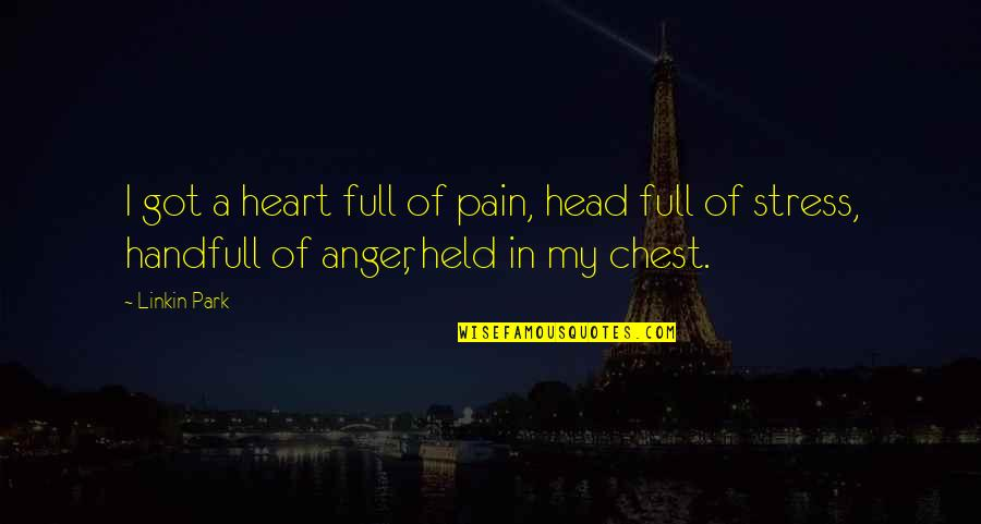 Stress And Anger Quotes By Linkin Park: I got a heart full of pain, head