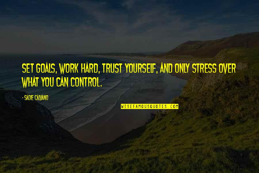 Stress And Hard Work Quotes By Sadie Calvano: Set goals, work hard, trust yourself, and only