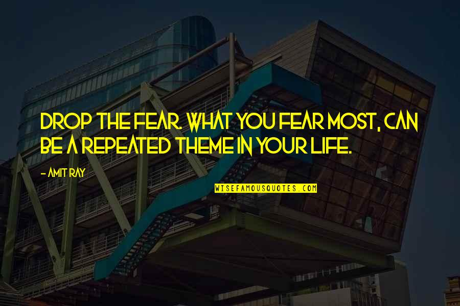 Stress Management Quotes By Amit Ray: Drop the fear. What you fear most, can