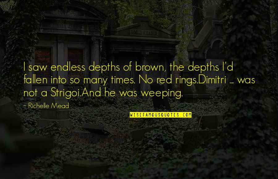 Strigoi Quotes By Richelle Mead: I saw endless depths of brown, the depths