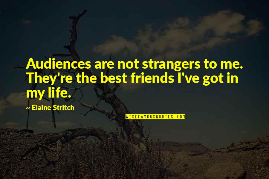 Stritch Quotes By Elaine Stritch: Audiences are not strangers to me. They're the