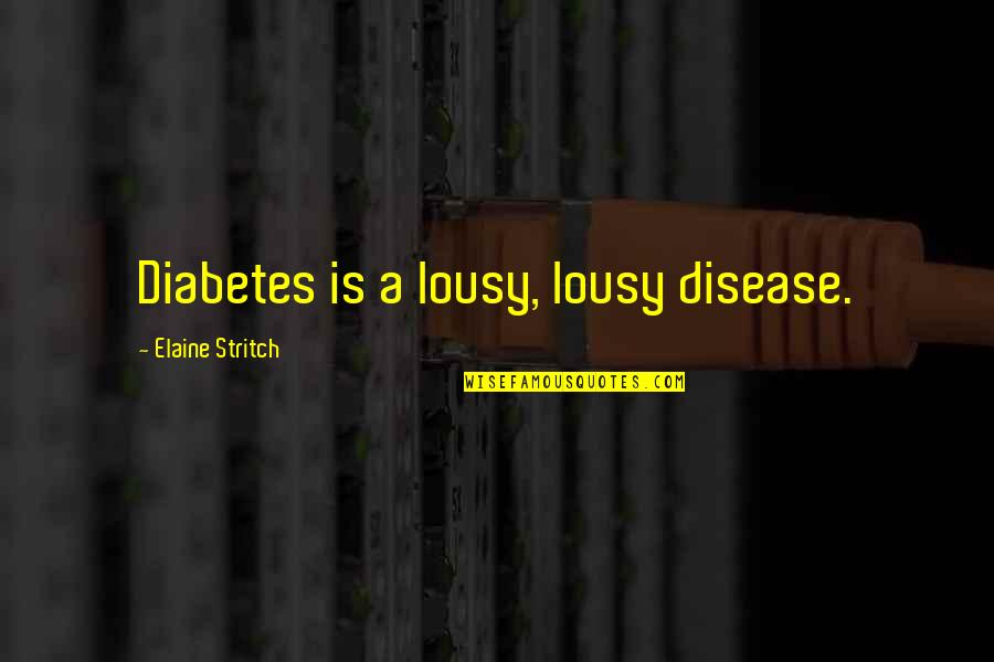 Stritch Quotes By Elaine Stritch: Diabetes is a lousy, lousy disease.