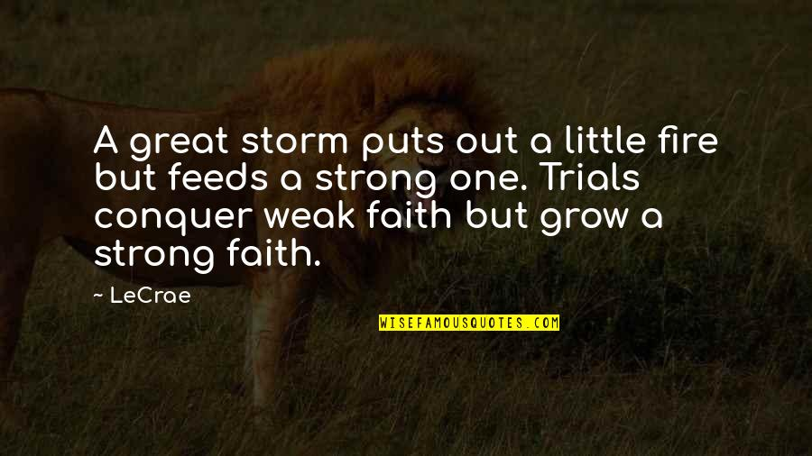 Strong Faith Quotes By LeCrae: A great storm puts out a little fire