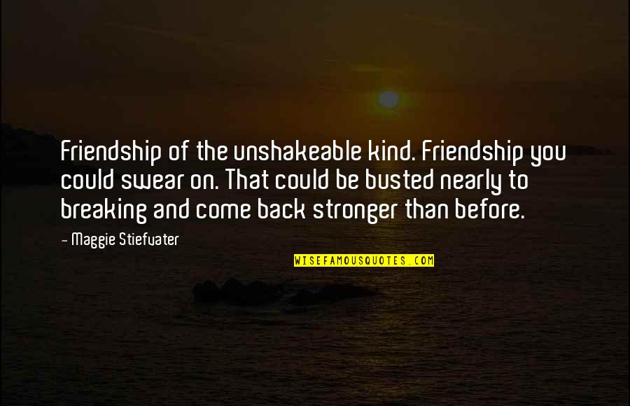 Stronger Than Before Quotes By Maggie Stiefvater: Friendship of the unshakeable kind. Friendship you could